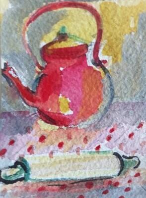 Bouilloire rouge 7x9aquareĺle, encre de Chine