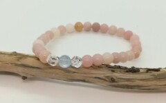 Bracelet Aigue Marine et Opale rose