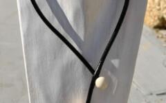 collier noyau de TAGUA vieux rose non réglable