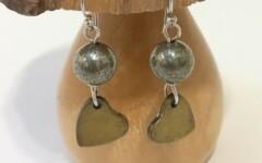 Boucle d'oreilles cœur et sa Pyrite