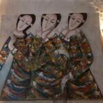 Tableau acrylique en relief sur canvas L.120 x l.100 cm